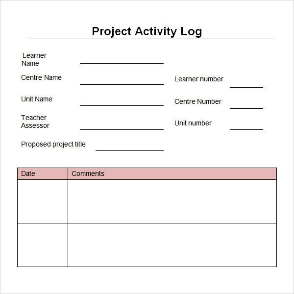 Daily Activity Log Template Work Log Template 5 Free Pdf Doc Download