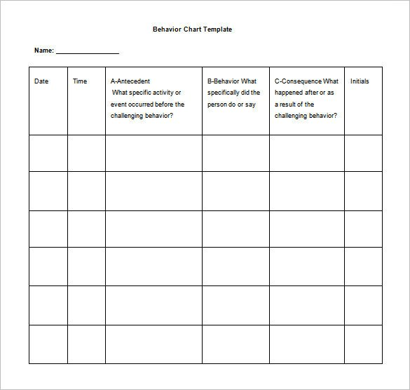 Daily Behavior Chart Template 6 Behavior Chart Templates Pdf Doc