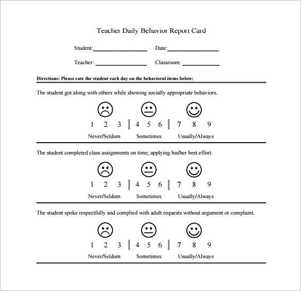 Daily Behavior Chart Template Behavior Chart Template – 12 Free Sample Example format