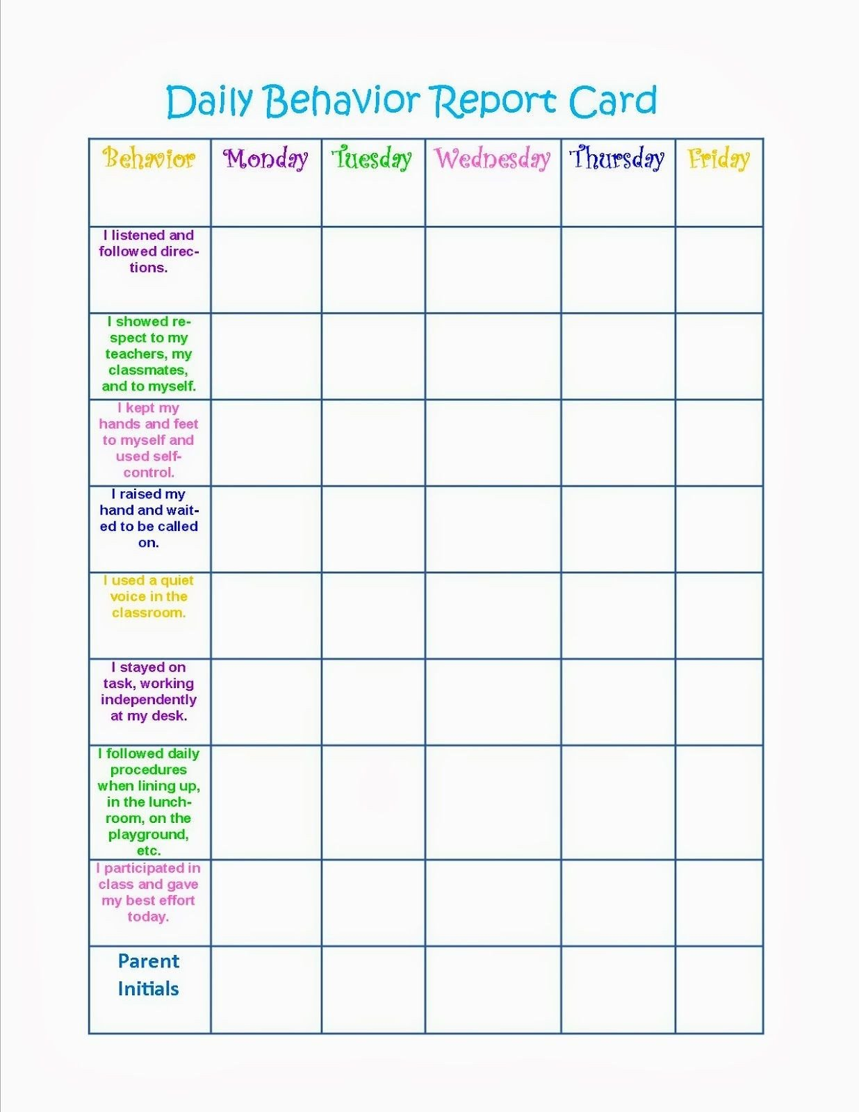 Daily Behavior Chart Template Behavior Charts Printable for Kids