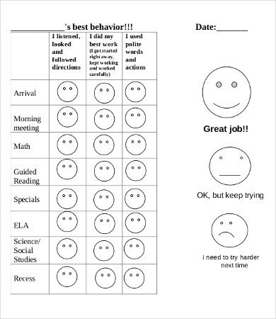 Daily Behavior Chart Template Free Printable Behavior Chart 8 Free Pdf Documents