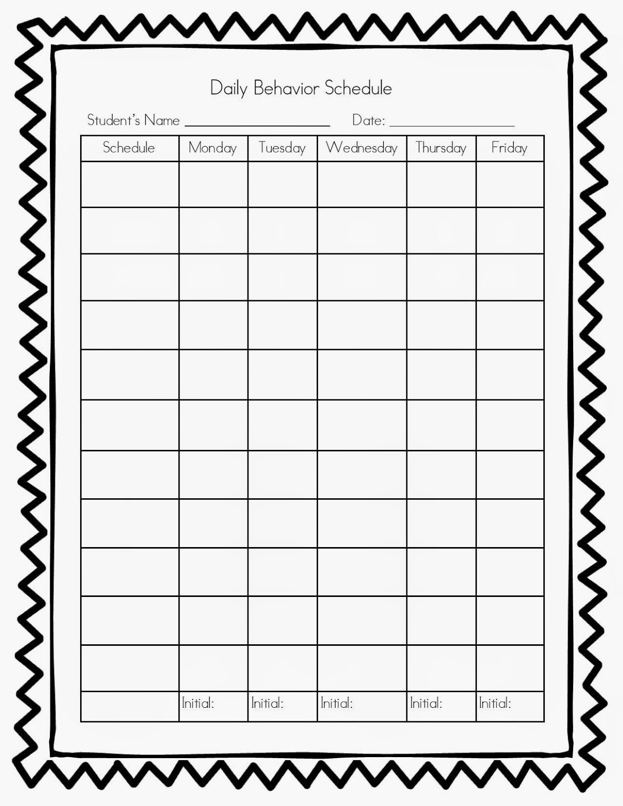 Daily Behavior Chart Template Homework Log for Teachers Blank Weekly