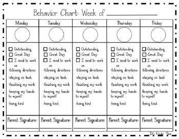 Daily Behavior Chart Template Weekly Behavior Chart Printable