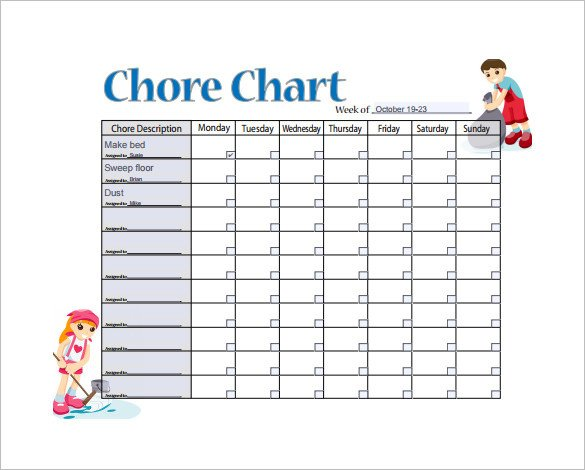 Daily Chore Chart Template 11 Sample Weekly Chore Chart Template Free Sample