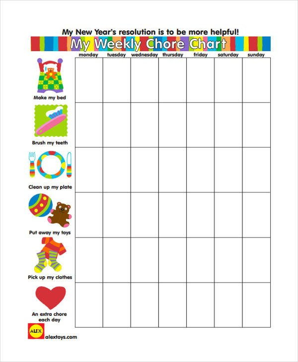 Daily Chore Chart Template 9 Chore Chart Templates In Pdf
