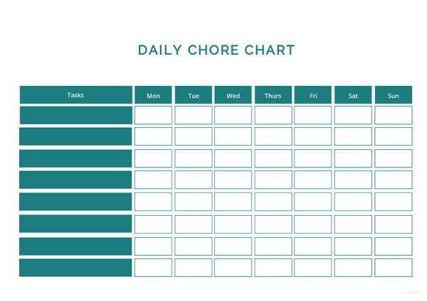 Daily Chore Chart Template Chart Template 61 Free Printable Word Excel Pdf Ppt