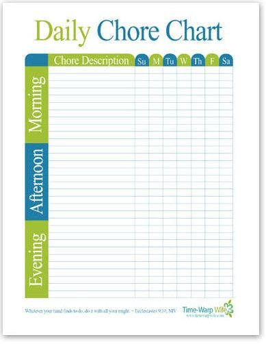 Daily Chore Chart Template Chore Chart Morning afternoon evening