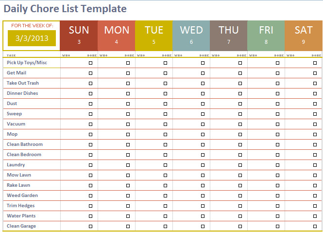 Daily Chore Chart Template Daily Chore List Template Microsoft Fice Templates