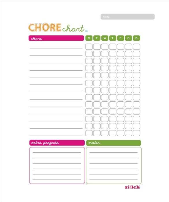 Daily Chore Chart Template Weekly Chore Chart Template 11 Free Word Excel Pdf