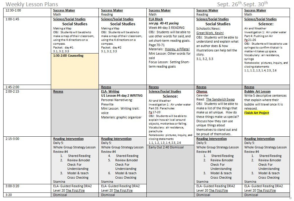 Daily Lesson Plan Template Pdf 5 Ponents to A Great Weekly Lesson Plan