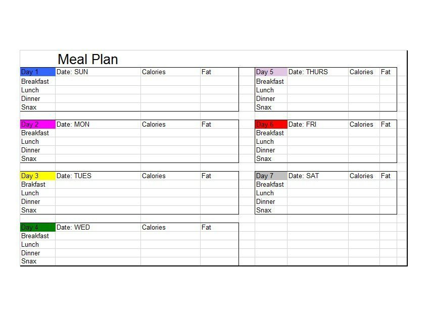 Daily Meal Plan Template 40 Weekly Meal Planning Templates Template Lab