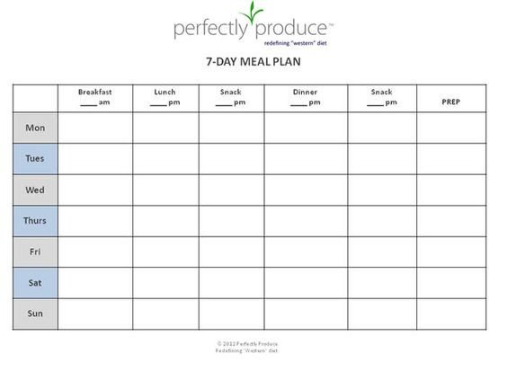 Daily Meal Plan Template 7 Day Meal Planner Template