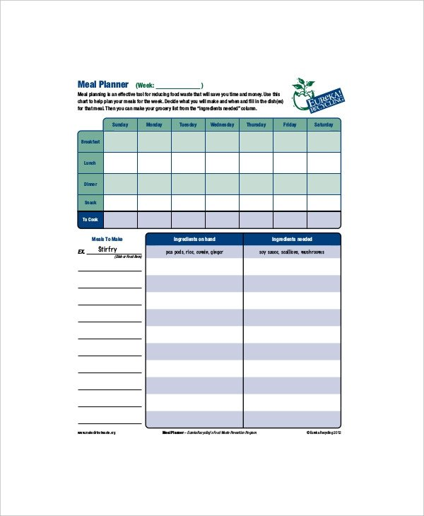 Daily Meal Plan Template 8 Daily Meal Planner Templates Free Sample Example