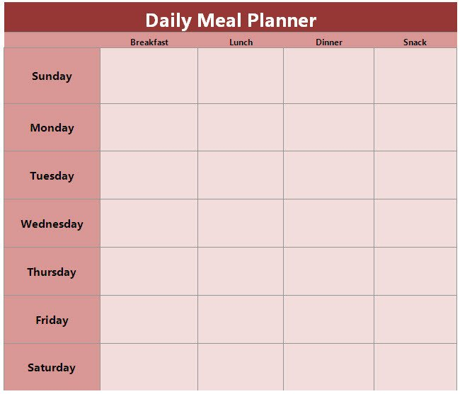 Daily Meal Plan Template Food and Family