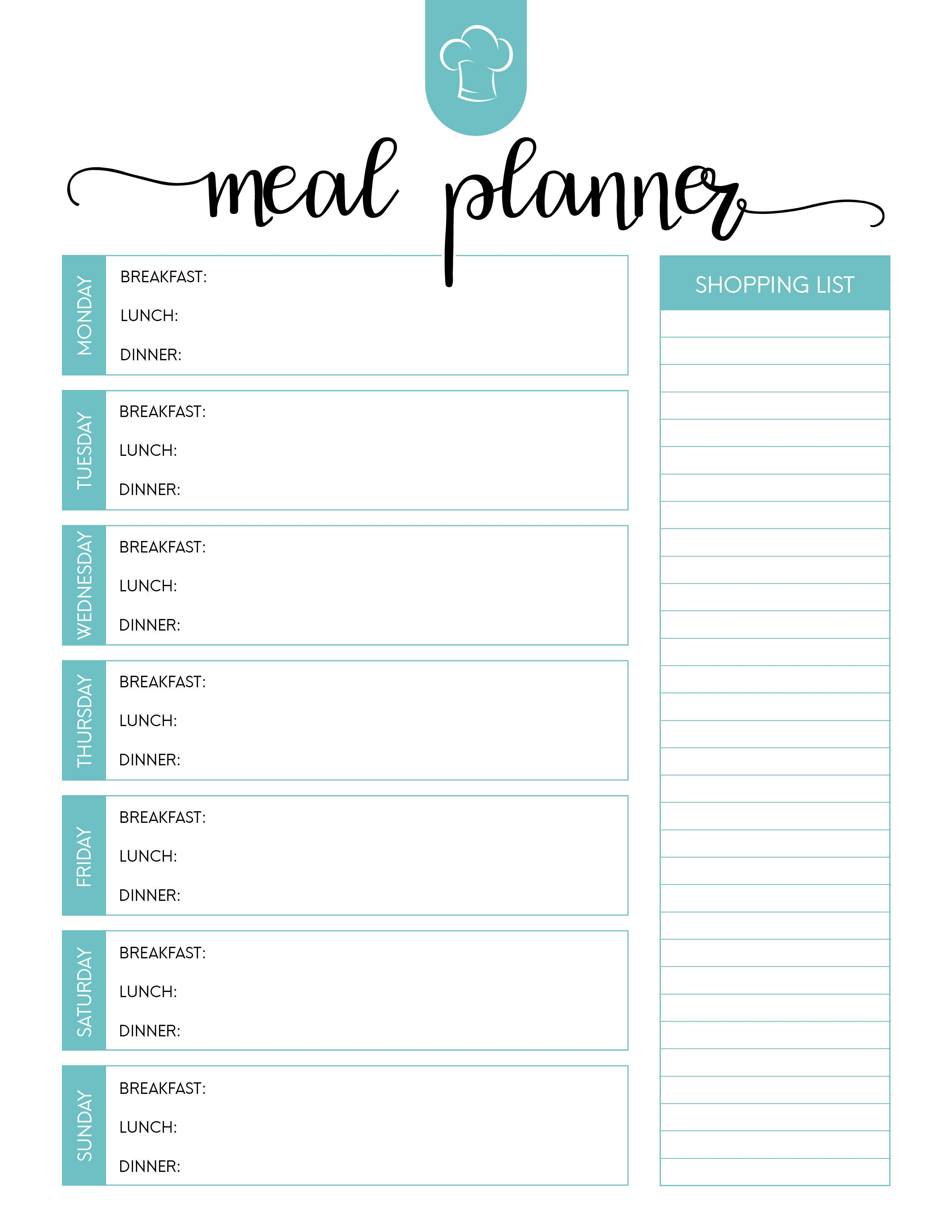 Daily Meal Plan Template Free Printable Meal Planner Set the Cottage Market