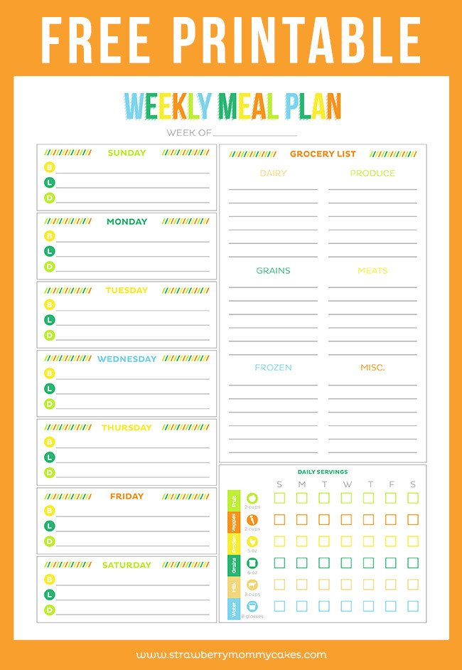 Daily Meal Plan Template Free Printable Menu Planners Friday Favorite 5
