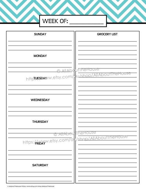 Daily Meal Plan Template Weekly Meal Planner Printable Chevron Blue Menu Planner Pdf