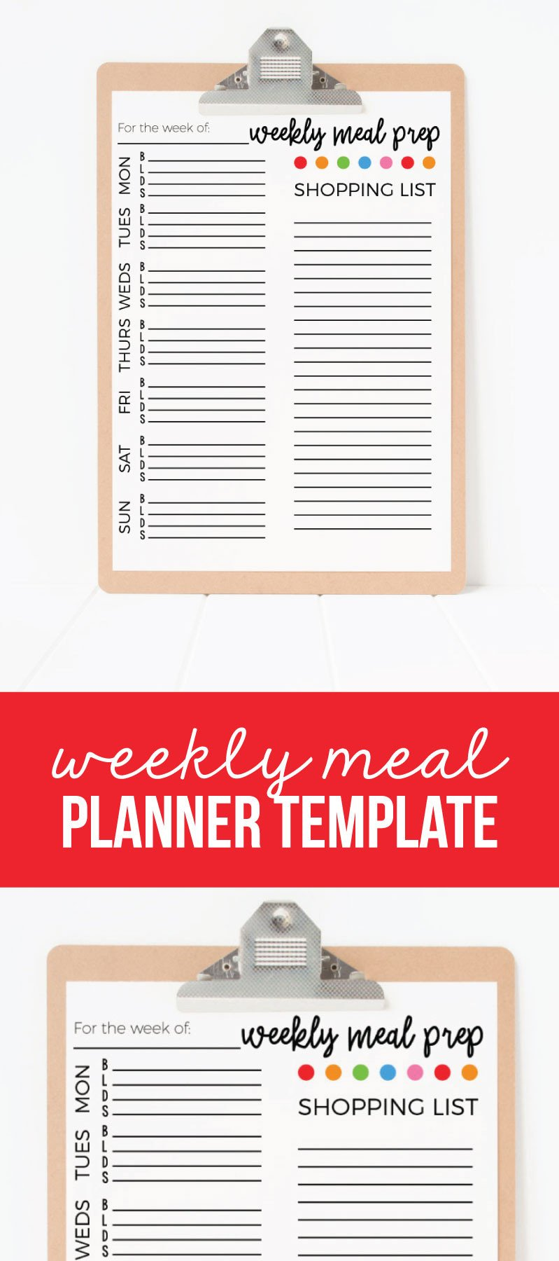 Daily Meal Plan Template Weekly Meal Planner Template
