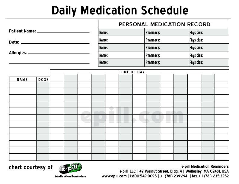 Daily Medication Chart Template Free Daily Medication Schedule Free Daily Medication