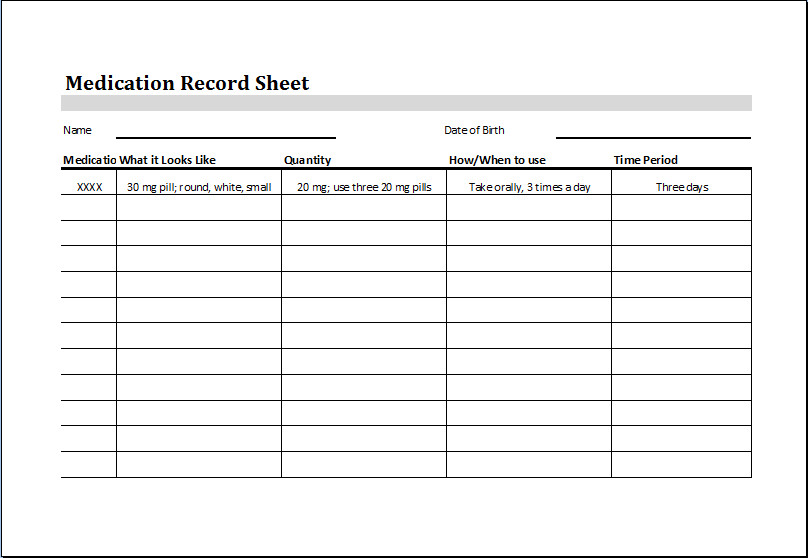Daily Medication Chart Template Medication Record Sheet – Word & Excel Templates