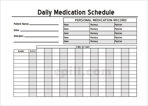 Daily Medication Chart Template Medication Schedule Template 14 Free Word Excel Pdf