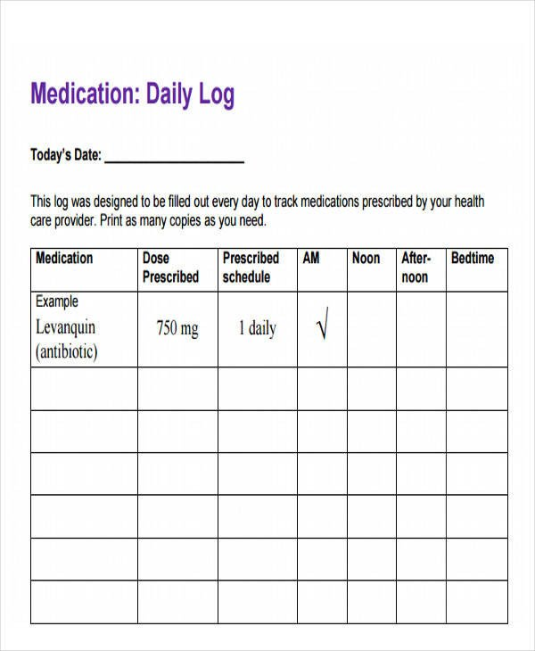 Daily Medication Schedule Template 43 Log Templates