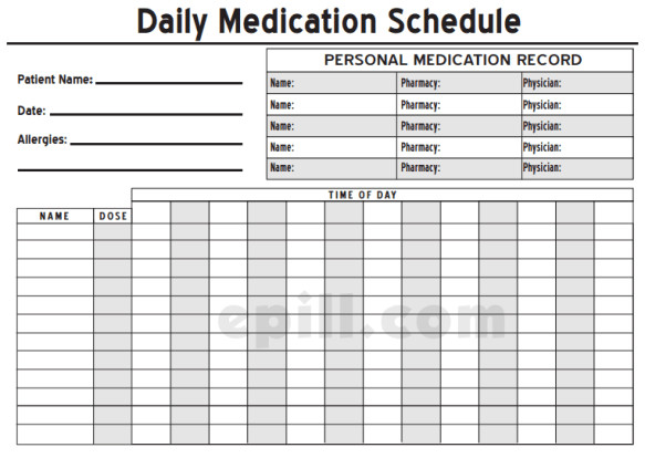 Daily Medication Schedule Template 6 Medication Intake Schedule Templates – Word Templates