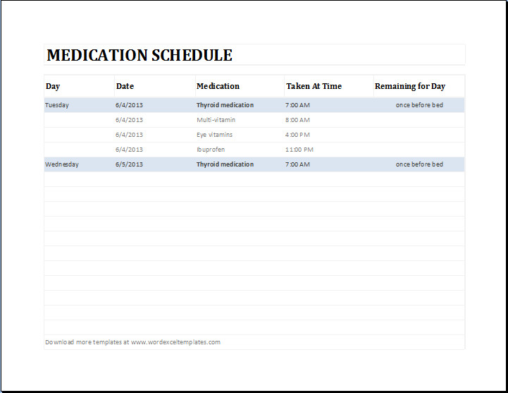 Daily Medication Schedule Template Daily Medication Schedule Template Ms Excel
