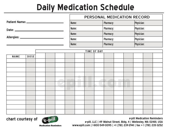 Daily Medication Schedule Template Download Free Personal Daily Medication Schedule Template