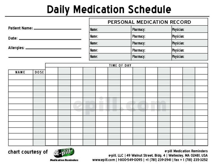 Daily Medication Schedule Template Free Daily Medication Schedule Free Daily Medication
