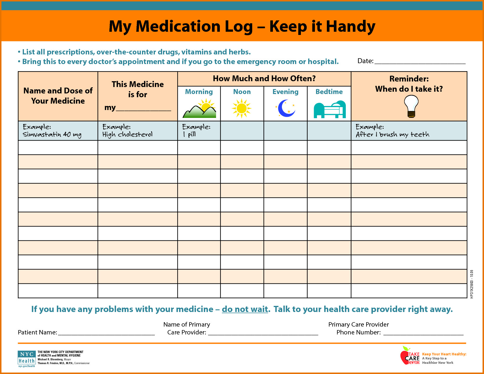 Daily Medication Schedule Template Medication Schedule Mom