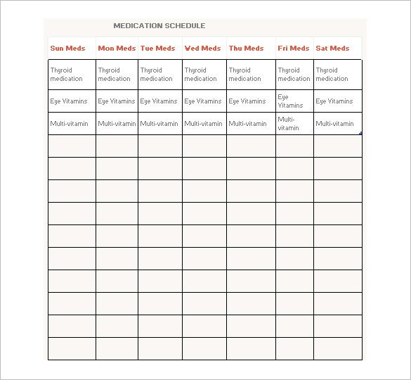 Daily Medication Schedule Template Medication Schedule Template 14 Free Word Excel Pdf