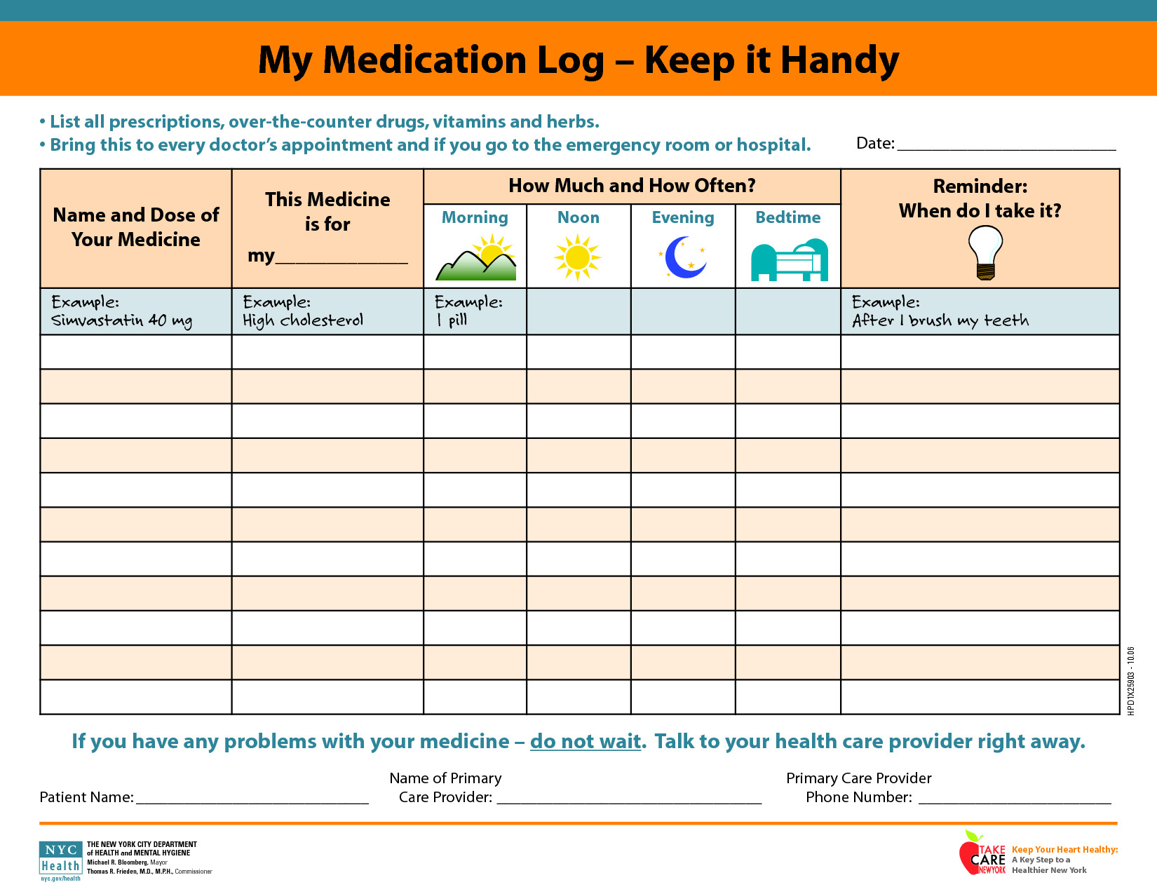 Daily Medication Schedule Template Medicine Picture Schedule