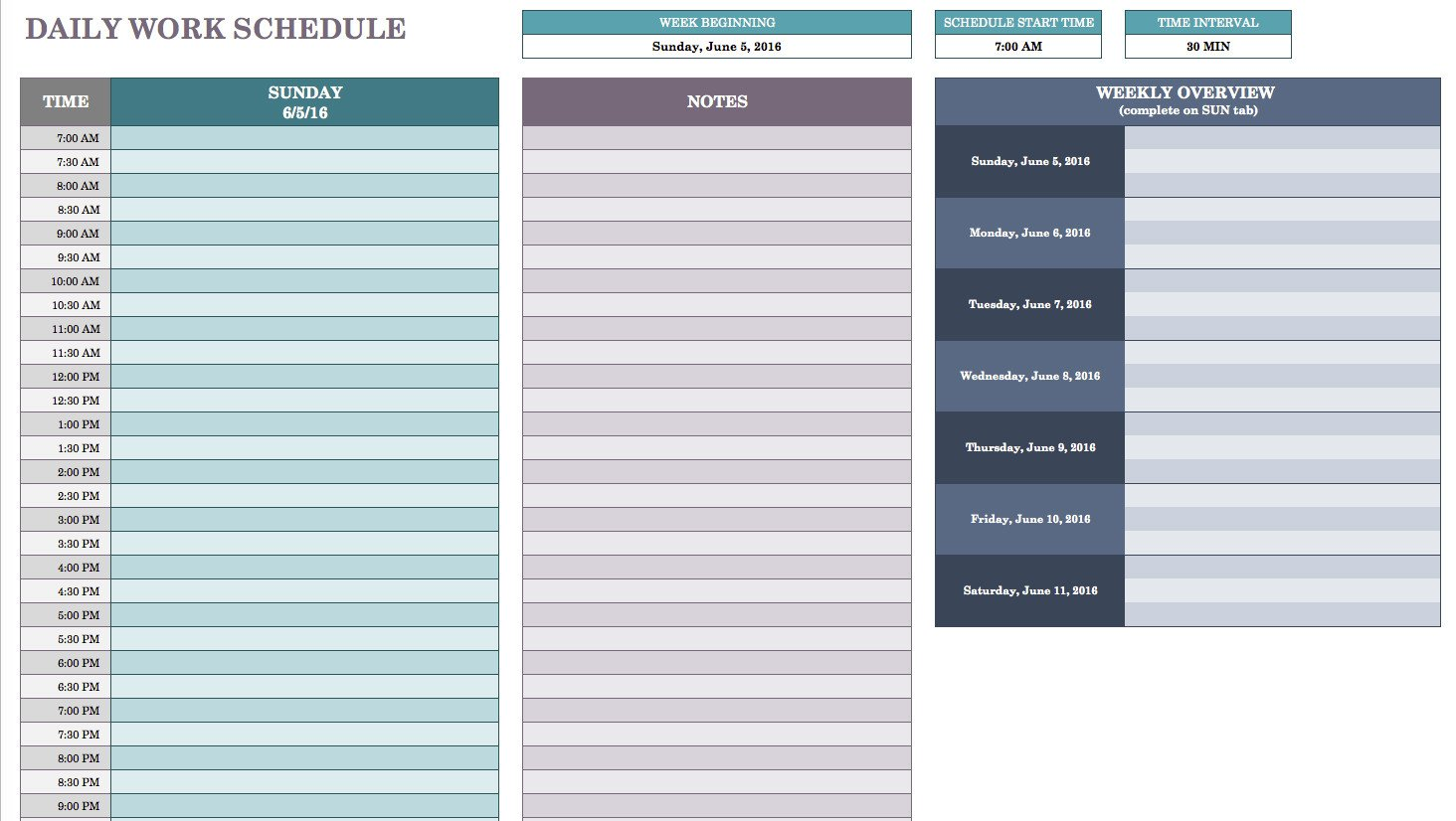 Daily Planner Template Excel Free Daily Schedule Templates for Excel Smartsheet