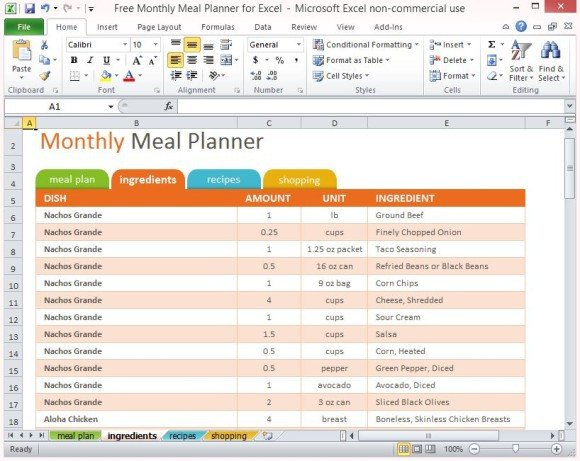 Daily Planner Template Excel Free Monthly Meal Planner for Excel