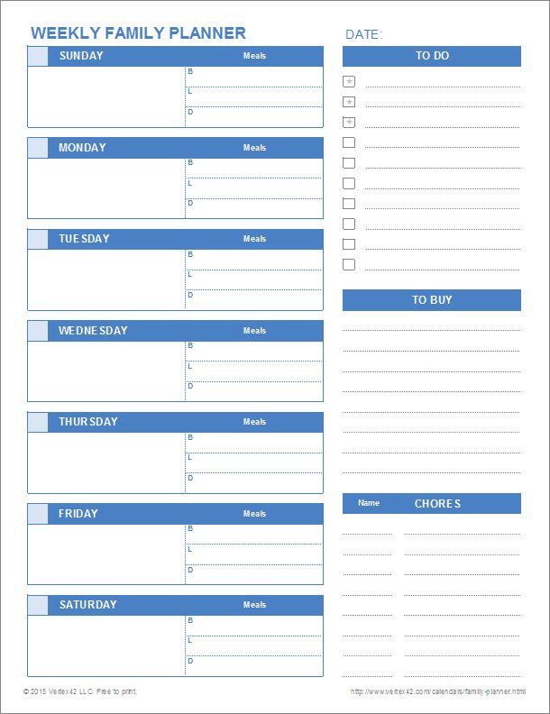 Daily Planner Template Excel Printable Family Planner Templates for Excel