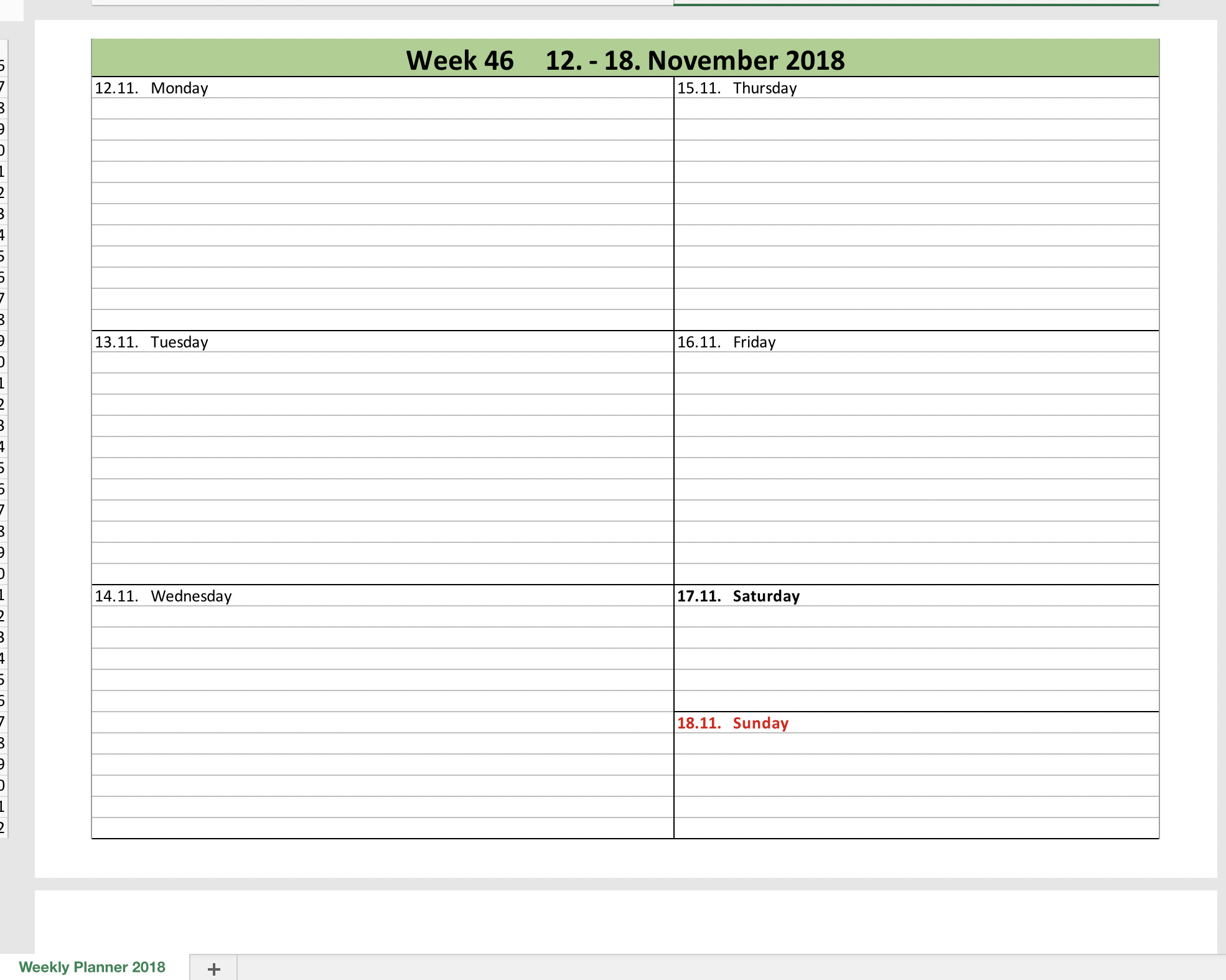 Daily Planner Template Excel Weekly Calendar 2018 with Excel