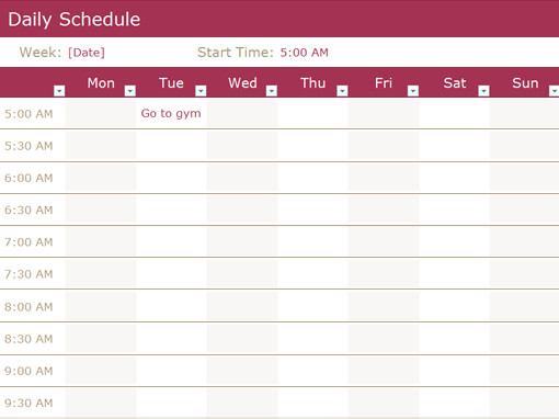 Daily Routine Schedule Template Daily Schedule Fice Templates