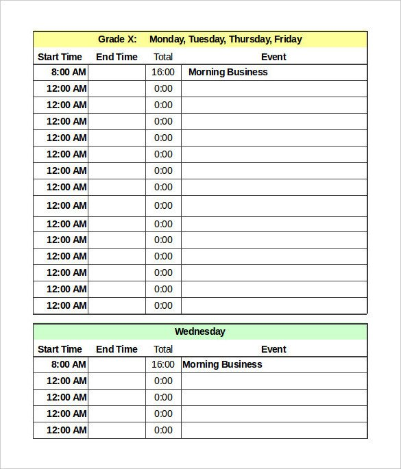 Daily Routine Schedule Template Daily Schedule Template 37 Free Word Excel Pdf