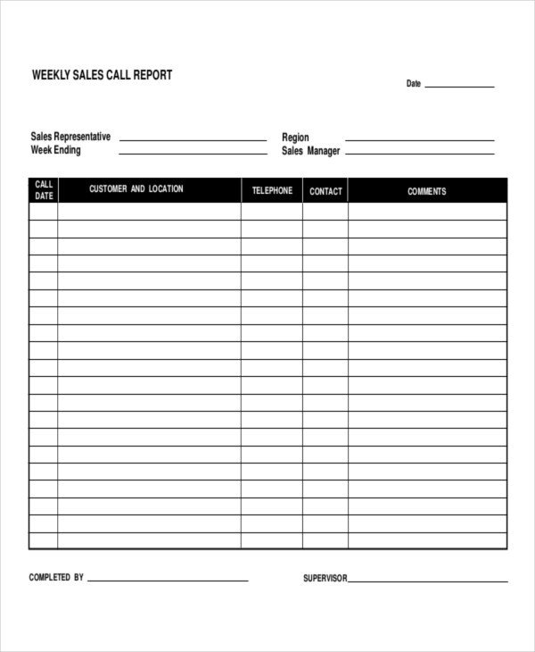 Daily Sales Report Template 9 Daily Call Report Templates Pdf Word Pages