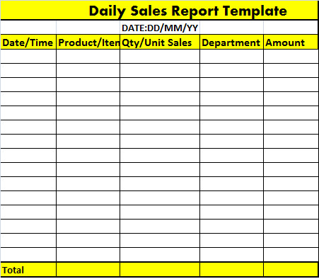 Daily Sales Report Template Daily Sales Report Template – Free Report Templates