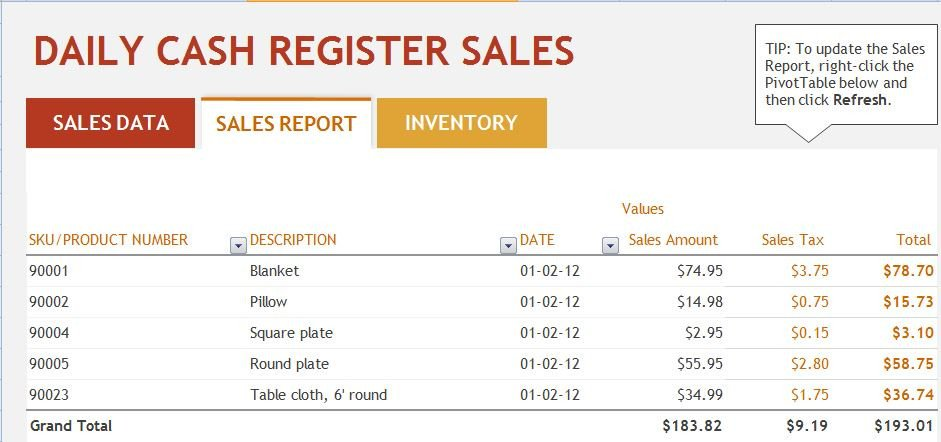 Daily Sales Report Template Ms Excel Daily Sales Report Template