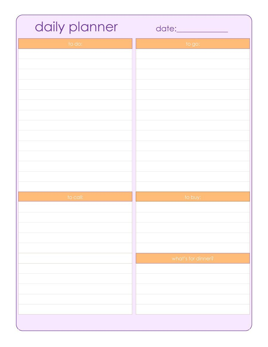 Daily Schedule Planner Template 40 Printable Daily Planner Templates Free Template Lab