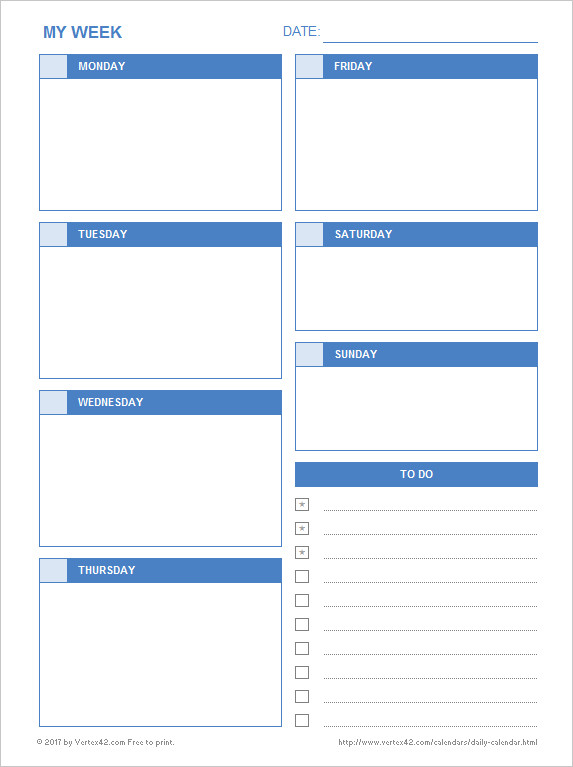 Daily Schedule Planner Template Daily Calendar Free Printable Daily Calendars for Excel