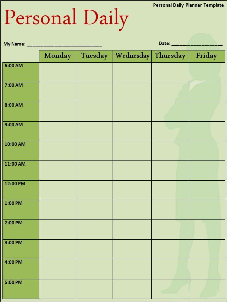 Daily Schedule Planner Template Daily Planner Template