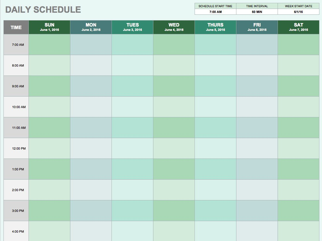 Daily Schedule Planner Template Free Daily Schedule Templates for Excel Smartsheet