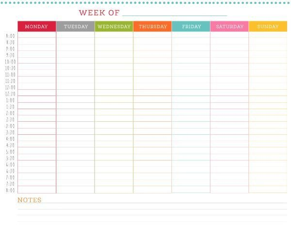 Daily Schedule Template Printable Free Printable Weekly Schedule