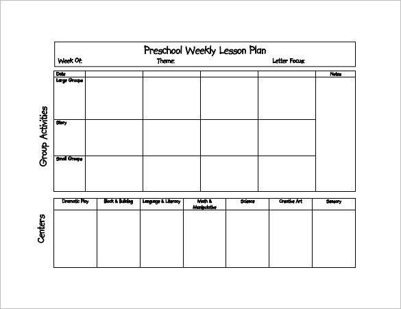 Daycare Lesson Plan Template 21 Preschool Lesson Plan Templates Doc Pdf Excel