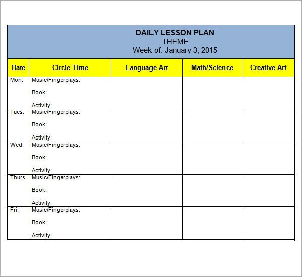 Daycare Lesson Plan Template Preschool Lesson Plan Template 10 Download Free