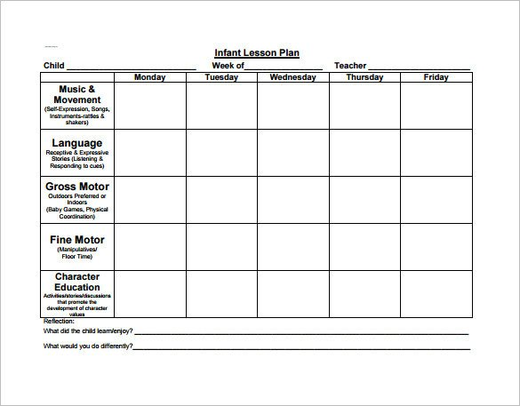 Daycare Lesson Plan Template Preschool Lesson Plan Template 11 Free Pdf Word format